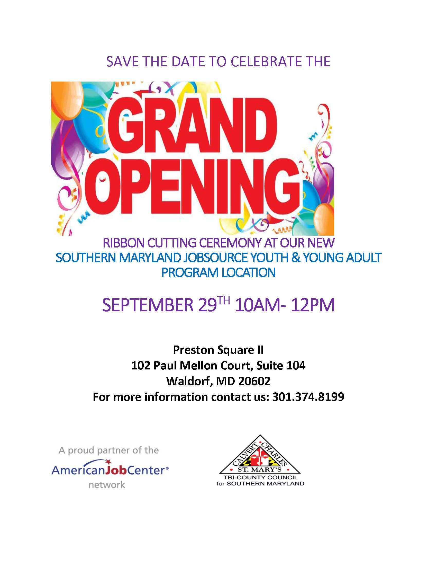 tri county council for southern maryland grand opening celebration